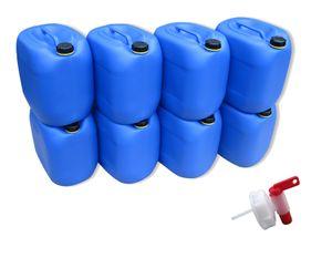 8 x 30 Liter Kanister Wasserkanister Campingkanister Farbe blau lebensmittelecht + 1 x Hahn (8x30 knb + H.)