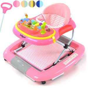 Daliya® BEBISTEP 4in1 Spiel- und Lauflernwagen - Gehfrei mit Schaukelfunktion Babywalker Lauflernwagen Laufhilfe Babywippe mit Musik- & Spielecenter & Esstisch - Rosa