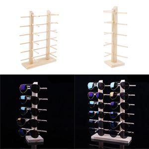 2 Stück Holz Brillenständer Brillenhalter Brillengestell Ständer Sonnenbrillenständer 2-Row, 5 Schicht / 6 Schicht