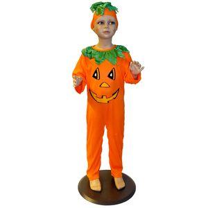 Kürbis Kostüm Kinder # Halloween Karneval Overall und Kopfbedeckung # Gr. 116