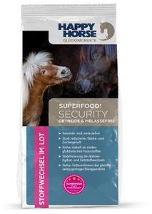 """Happy Horse Superfood """"Security Getreide- und Melassefrei"""" 14 kg + 2 x 1 kg Lecker Snack"""
