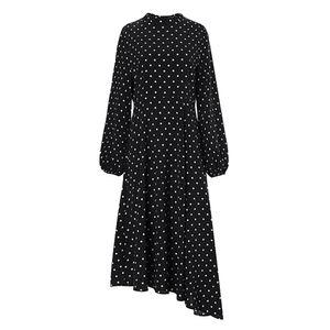 Mode Frauen lange Puff Ärmel unregelmäßig großen Saum Polka Dots Party Midi Kleid