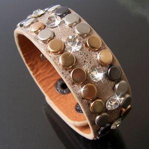 A5136B* Armband Leder-Look Nietenarmband Strass 21cm makeup-goldglitzer