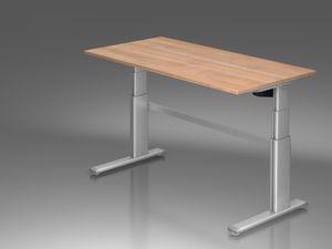 XD-Serie Schreibtisch, elektrische Höhenverstellung, Nussbaum, Größe Tischplatte:160 x 80 cm