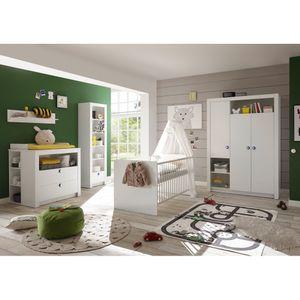 87-530-17 PAULA weiß 3tlg. Babyzimmer Kinderzimmer inkl. Wickelkommode, Bett und Kleiderschrank