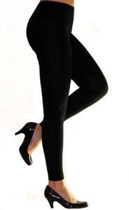 Damen Leggings Leggins lang hoher Bund SCHWARZ Größe XL