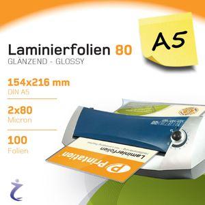 100 Stück DIN A5 Laminierfolientaschen 216 x 154mm, 2x 80 mic, Hochglanz Printation Premium Laminierfolien