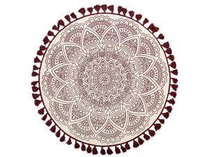 Teppich Rot Weiß Baumwolle 120 x 120 cm Kurzflor Orientalisch Mit Fransen Handgewebt Rund