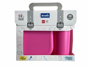 Rotho Memory Kids Set Box 1ltr. + Flasche 0,4Ltr., Brotdose mit Trinkflasche Pink