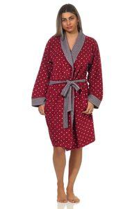 Damen Leicht Frottee Bademantel Morgenmantel - auch in Übergrössen - 202 218 93 200, Farbe:Tupfen rot, Größe:40/42