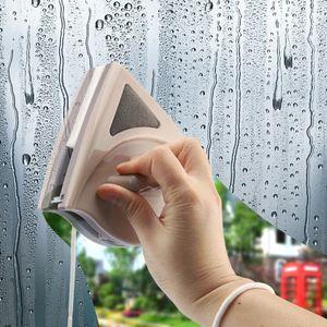 Fensterputzbürste Doppelseitig, Doppelseitiger Magnetischer Fensterreiniger mit Fallschutzseil, Ultrastark Beidseitige Glasoberflächenreinigungsbürste für Doppelt Verglaste Fenster 15-24mm (braun)