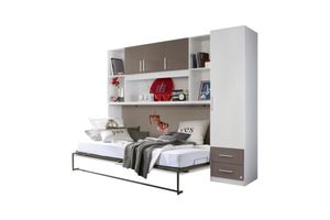 Klappbett Susi + Schrankwand 90*200 cm weiß grau Kleiderschrank Kinderbett Jugendbett Jugendliege Bettliege Wand Bett Funktionsbett