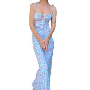Floral Print Tie Front Backless Sling Slim Damen Maxikleid Sommerkleid für Strand Dunkelblau M
