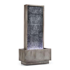 Blumfeldt Imperia - Gartenbrunnen , Springbrunnen , Zierbrunnen , Wasserspiel , 10 Watt Pumpe , IPX8 Schutzart , 35x75cm Gerinnefläche , 10m Kabel , LED , für Drinnen und Draußen , verzinkt , grau