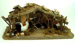 Kleine Weihnachtskrippe, Krippenstall für 5-6 cm. Krippenfiguren, 14 cm hoch