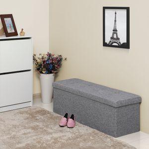 SONGMICS Sitzbank 110 x 38 x 38 cm mit 120 L Stauraum aus Leinen und MDF faltbar  Truhen Sitztruhe lichtgrau LSF77G