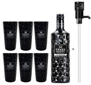 Three Sixty Black 42 Vodka 3L (42% Vol) + Pumpe + 6x Black Longdrink Gläser eckig schwarz -[Enthält Sulfite]
