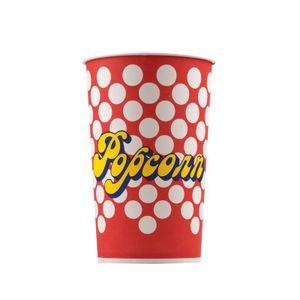Popcorn Bodenbecher 10 Stück 46 oz 78 g 1,6 Liter Popcorn Kreise rot, weiß, gelb