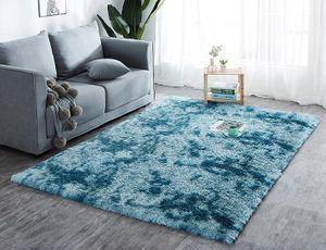 Hochflor Teppich Wohnzimmerteppich Langflor Teppiche für Wohnzimmer flauschig Shaggy Schlafzimmer Bettvorleger Outdoor Carpet (160 x 230 cm, Türkis mit Muster)