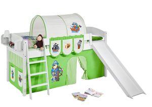 Lilokids Spielbett IDA 4105 Pirat Grün Beige - Teilbares Systemhochbett - weiß - mit Rutsche und Vorhang - Maße: 113 cm x 208 cm x 98 cm; IDA4105KWR-PIRAT-GRUEN-S