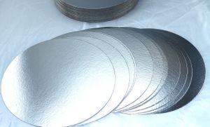 10 Stück Tortenunterlagen, Pappe rund Ø 30cm silberfarben Tortenplatten einseitig mit Folie beschichtet, verhindert Durchnässen