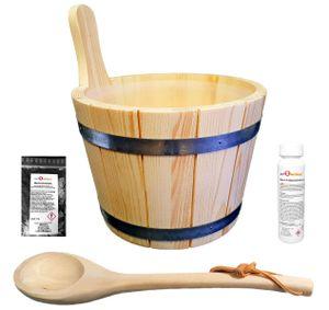 SudoreWell® Saunakübel Set 5-TLG. mit Saunakübel aus Nadelholz 5,0 l inkl. Einsatz + Schöpfkelle Plus Mentholkristalle + Saunaaufguss