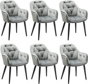2er/4er/6er Stühle esszimmer Esszimmerstühle grau Esszimmerstuhl Samt Küchenstuhl Polsterstuhl Wohnzimmerstuhl Sitzfläche mit Armlehne Metallbeine Stuhl Für Esszimmer Wohnzimmer Küche Dunkelgrau