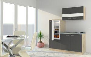respekta Küchenzeile Küche Singleküche Einbau Küchenblock 160 cm Eiche grau
