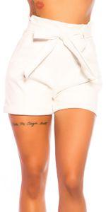 Kunstleder High Waist Hotpants mit Paperbag-Bund und Gürtel, Farbe: Weiß, Größe: M