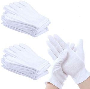 12 Paar Weiße Handschuhe Baumwolle Weiche Baumwollhandschuhe Atmungsaktive Arbeitshandschuhe Damen Stoffhandschuhe für Inspektion von Schmuck Münzen Silber Oder Empfindlichen Oberflächen