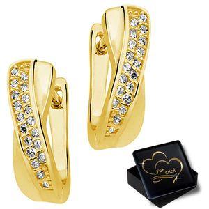 Damen Klapp Creolen aus 925 Sterling Silber Gold mit Zirkonia Frauen Ohrringe K836+V11
