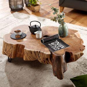 WOHNLING Couchtisch NAKUR 104x30x69 cm Akazie Vollholz Design Wohnzimmertisch   Tisch Stubentisch Baumscheibe   Sofatisch Holztisch Wohnzimmer   Designer Echtholztisch massiv   Kaffeetisch groß