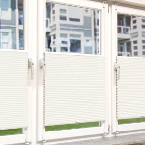 Plissee Rollo Sonnen- und Sichtschutz Klemmfix, ohne Bohren Breite 100 cm Höhe 130 cm in Weiss