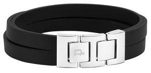 Police Leder-Edelstahl-Armband schwarz PJ26319BLSB.01