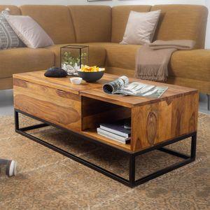 WOHNLING Couchtisch Sheesham Massivholz 110x40x50 cm Sofatisch mit Metallbeinen | Wohnzimmertisch Tischplatte aufklappbar | Holztisch Tisch Industrial Design