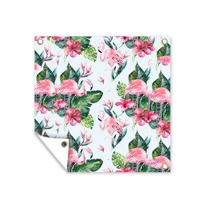 Gartenposter - Muster aus Flamingos, Blättern und Blumen mit hellblauem Hintergrund - 100x100 cm
