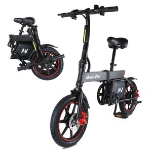 E-bikes Falt-Elektrofahrrad mit Pedalen, verstellbarer Sitz, kompakt tragbar, Höchstgeschwindigkeit 20km / h, Reichweite 20km, 14-Zoll-Reifen, Cruise-Modus