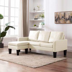Moderne Ecksofa 3-Sitzer-Sofa Wohnzimmer-Sofa für 3 Personen mit Hocker Creme Kunstleder 184 x 76 x 82,5 cm