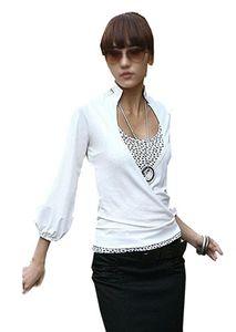 Amri Japan Style von Mississhop Damen Wickelbluse Bluse 3/4 arm Tunika Longshirt mit Stehkragen Shirt Weiß L