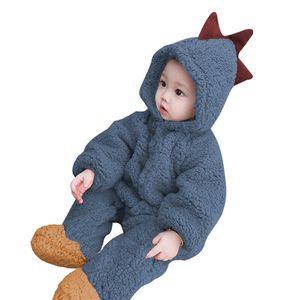 Tierbaby mit Kapuze Strampler einteilige Kleinkinder Herbst Winter  Pyjamas Unisex Overall Kostueme (Dinosaurier) 90
