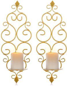 Wandkerzenhalter 2er Set, Wandteelichthalter Säulenhalter für Teelichter Stumpenkerze Wohnzimmer Schlafzimmer, Gold