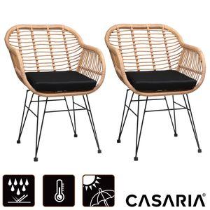 Casaria 2er Set Korbsessel Gartenstuhl Esszimmerstühle mit Auflagen in Rattan Optik Gartensessel