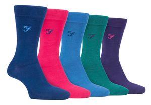 Farah - 5er Pack Herren Bambus Socken   Uni Bunt und Gestreift Socken