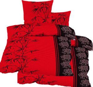 4-tlg. Seersucker Bettwäsche 2x (135x200 +80x80cm), rot schwarz hellgrau, Bambus, bügelfrei, Microfaser
