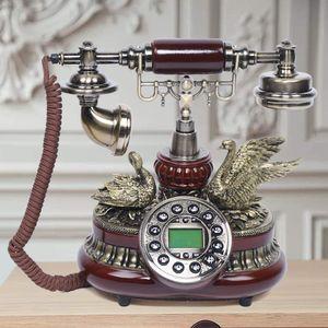 Festnetztelefone Retro Telefon Schnurgebundene Antikes Telefon Dekoration für Café Bar, Mit Schwanendekoration
