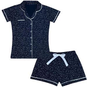 Damen Pyjama Shorty Kurz Schlafanzug kurzarm Baumwolle Nachtwäsche - Dunkelblau M