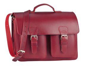 Ruitertassen kleine Aktentasche 38cm Damen Leder Schultasche rot Lehrertasche 2 Fächer