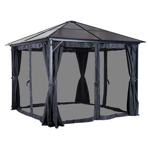 Outsunny Pavillon Gartenpavillon Partyzelt mit Seitenteilen PC Dach Alu 300x300x265cm