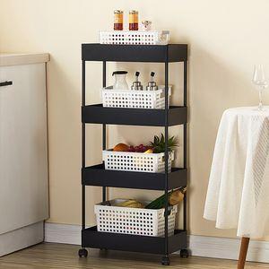 Küchenwagen Servierwagen Rollwagen 4 Etagen ABS Wagen für Küche Bad schwarz