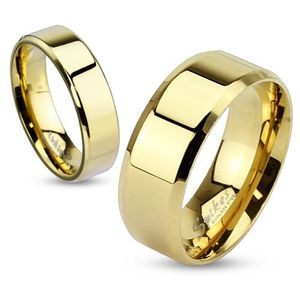 Damen Herren Ring Edelstahl Partnerring Ehering Verlobungsring Bandring gold 59 - Ø 18,95 mm 6 mm